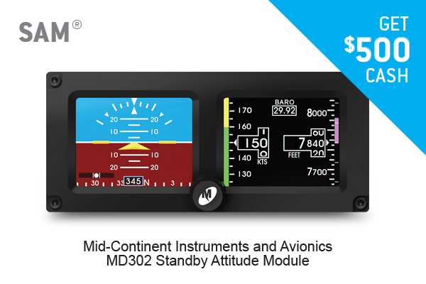 GET $500 CASH FOR A MID-CONTINENT INSTRUMENTS AND AVIONICS MS302 Standby Attitude Module (SAM)