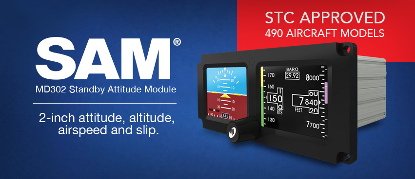 MD302 Standby Attitude Module (SAM) — STC Approved 490 Aircraft Models